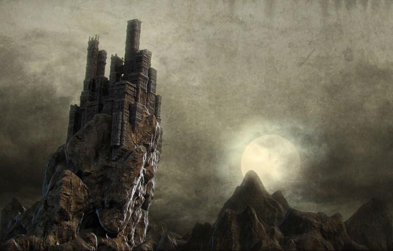 castle-on-cliff-3d-render